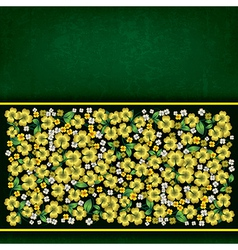 Abstract green grunge background with golden vector