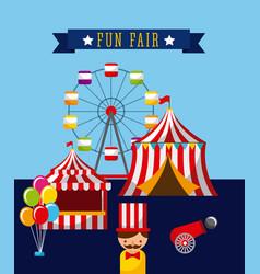 amusement fun fair theme park poster template vector image