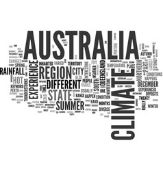 Australia climate text word cloud concept vector