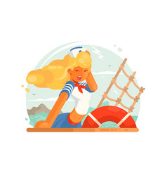 beautiful girl sailor vector image vector image
