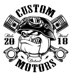 Biker bulldog biker t-shirt design monochrome vector