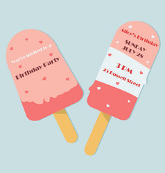 Birthday invitation template as ice cream shape vector