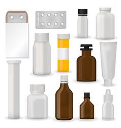 Bottle pack template mockup blank pharmaceutical vector
