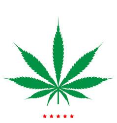 cannabis marijuana leaf icon flat style vector image