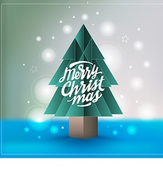 Christmas tree paper style with Merry Christmas vector image vector image