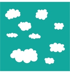 Cloud icons set on blue sky background vector image