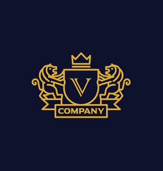 Coat of arms letter v company vector