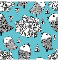 Doodle birds and design elements on blue vector
