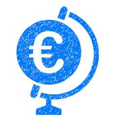euro globe icon grunge watermark vector image vector image