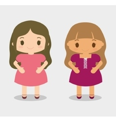 Girls kid cartoon design vector