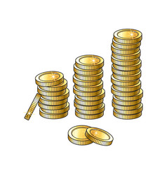Golden coins stacks isolated vector