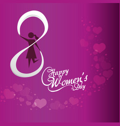 Happy womens day girl purple background vector