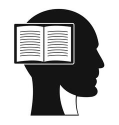 head with open book icon simple style vector image vector image