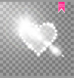 heart of the lamps and glare on a transparent vector image vector image