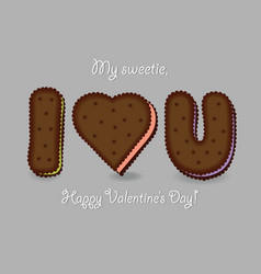 I love you chocolate cookies vector