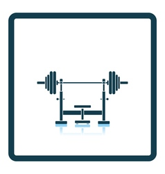 Icon of bench with barbell vector