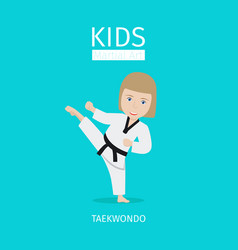 kids martial art taekwondo girl vector image