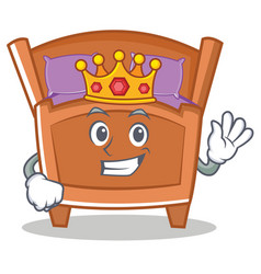 King cute bed character cartoon vector