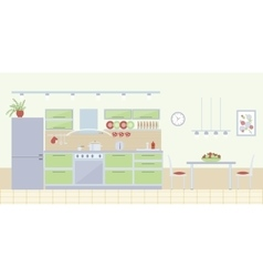 Kitchen interior in flat style vector image vector image