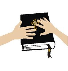 Marital oath on the holy bible vector