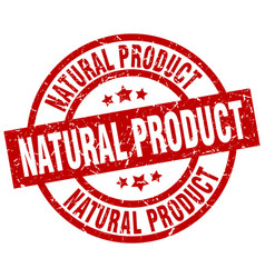 Natural product round red grunge stamp vector