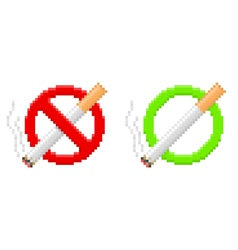 Pixel no smoking and smoking area signs vector image