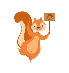 Red squirrel holding wooden sign with acorn vector