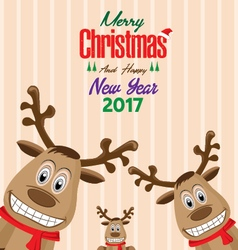 Reindeer of Merry Christmas and Happy New Year vector image vector image