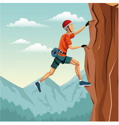 Scene landscape man climbing rock mountain without vector