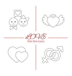 Set of isolated love thin lined outlined icons vector