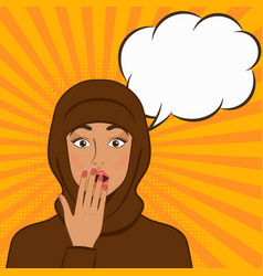 Surprised girl in hijab on comic book background vector