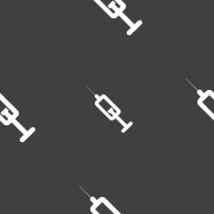 syringe icon sign Seamless pattern on a gray vector image