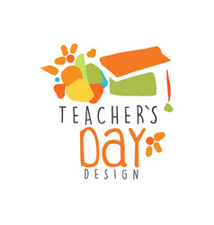 Teachers day label design back to school logo vector