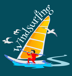 Windsurfing water extreme sports isolated design vector