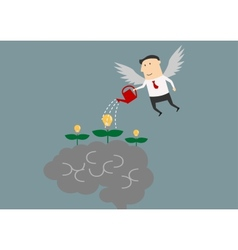Winged businessman watering ideas on a brain vector