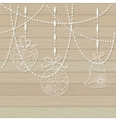 Wooden background with paper toys vector