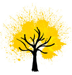 Yellow color tree background vector