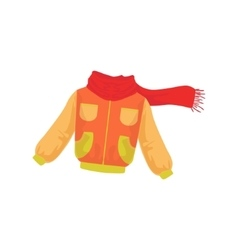 Warm jacket and scarf as autumn attribute vector