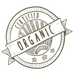 Doodle package label organic vector