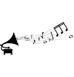 Gramophone and melody vector
