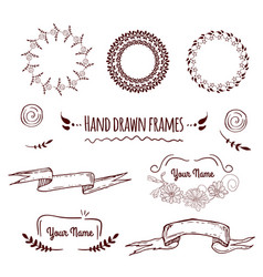 Big collection of hand drawn badges borders fram vector