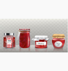 Collection of glass jars with jam in a vector