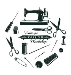 Hand drawn tailor elements collection vector