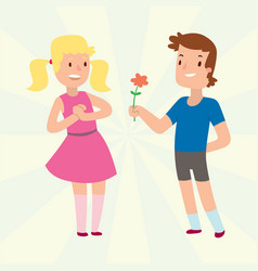 Children happy couple cartoon relationship vector