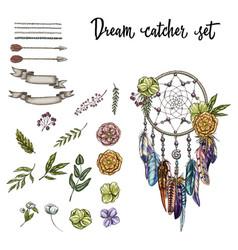 set of hand drawn ornate dreamcatcher vector image