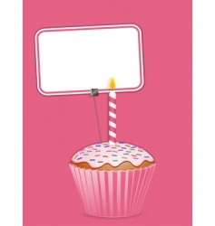 cupcake and label vector image