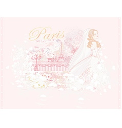 Beautiful bride in paris card vector