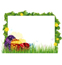 Painted eggs in the grass vector