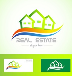 Real estate green house logo vector