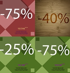 40 25 75 icon set of percent discount on abstract vector